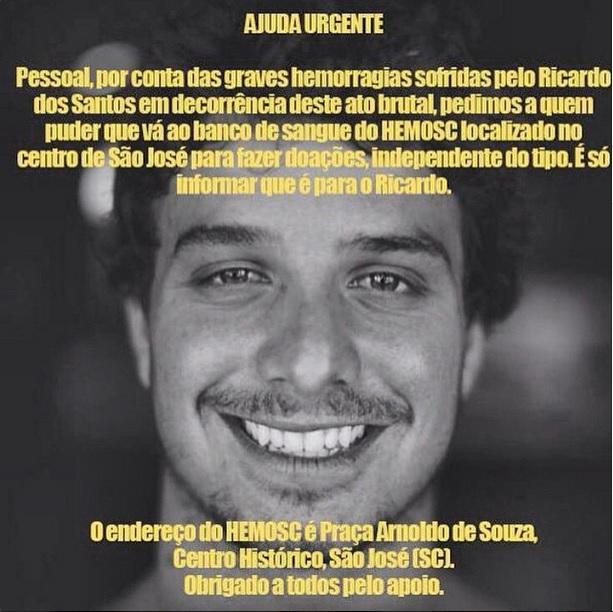母国ブラジルにて拳銃で撃たれたリカルド・ドス・サントス