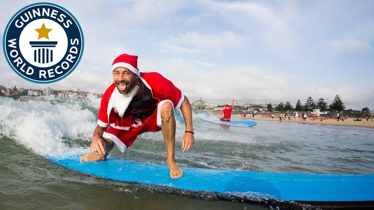 ギネス世界記録!サンタクロースだらけの世界最大規模サーフレッスン@シドニー