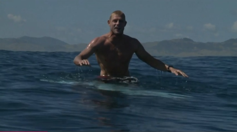 Mick Fanning in the water at Fiji