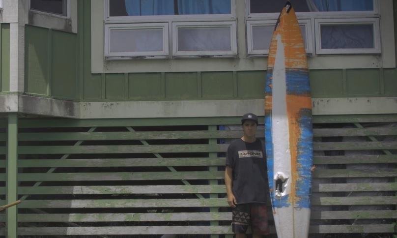 Tyler Larronde with broken board