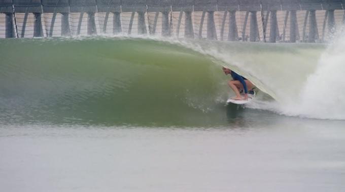 Steph in the barrel off KS wave pool