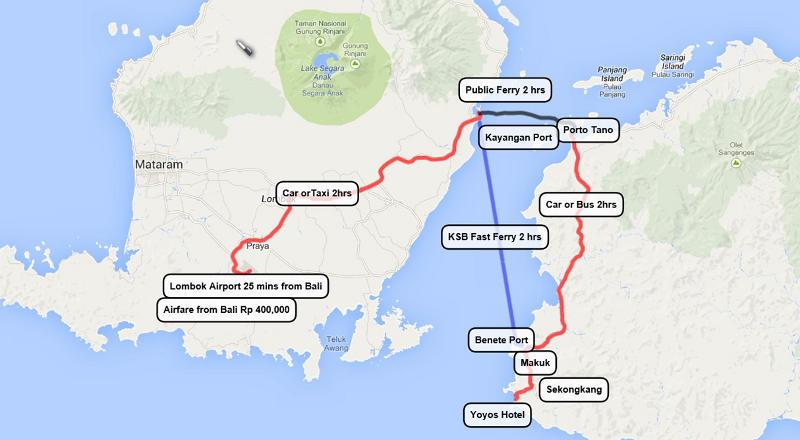 ロンボク島からスンバワ島へのアクセスマップ via yoyoshotel.info