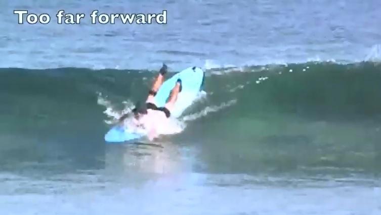 paddling position too far forward
